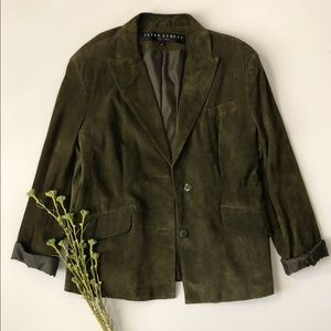 Green Leather Suede Jacket
